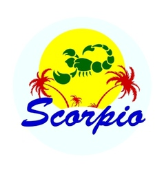 zodiac sign with palm trees vector image