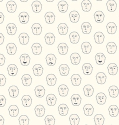 Cute seamless pattern with different facial vector image