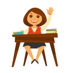 girl sits at desk with textbooks and raises her vector image