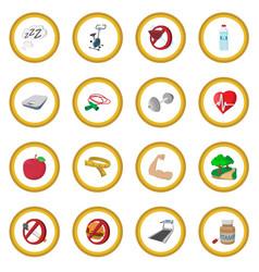 healthy lifestyle cartoon icon circle vector image vector image