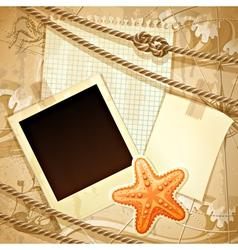 Nautical scrapbook template vector image