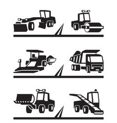 Road construction machinery vector image vector image