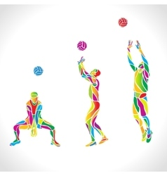 volleyball silhouettes rainbow collection vector image