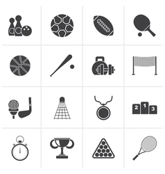 Black Sport equipment icons vector image