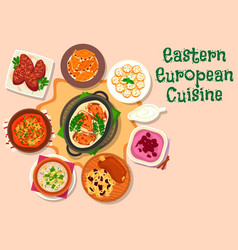 eastern european cuisine dinner menu icon design vector image vector image