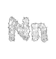 flower alphabet the letter n vector image