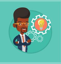 Man with business idea bulb in gear vector