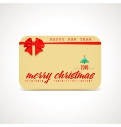 Merry Christmas greeting card with bow and ribon vector image