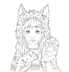 portrait of a cute teen girl in animal hat vector image