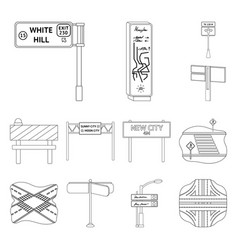 road junctions and signs outline icons in set vector image