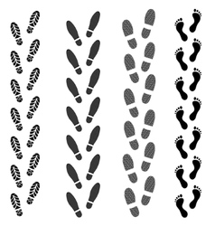 Shoes Trail Footprints and Barefoot vector image