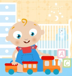 baby playing toy vector image vector image