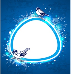 Blue Christmas background with birds vector image