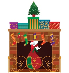 Christmas fireplace vector image vector image