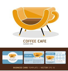 Coffee cafe icons logo and business card design vector image vector image
