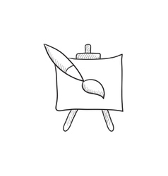 Easel and paint brush sketch icon vector image vector image