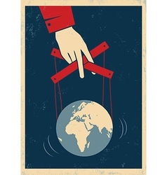 hand and earth poster red vector image vector image