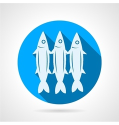 Sardine flat round icon vector