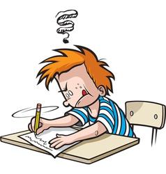 school boy writing vector image vector image
