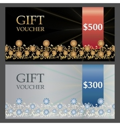 Two Voucher templates with gold silver premium vector image vector image