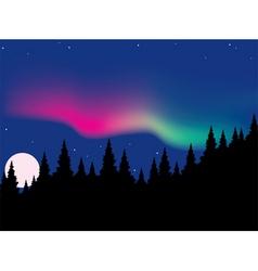 vector aurora polaris over forest vector image