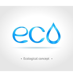 Blue word Eco on gray background vector image vector image