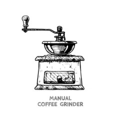 manual burr mill coffee grinder vector image