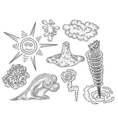 set of hand-drawn images vector image