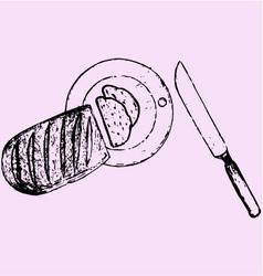sliced loaf board knife vector image