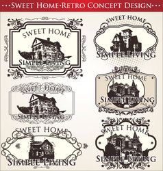 sweet home - retro concept design vector image vector image