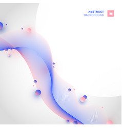 Abstract pink and blue wave line with circles vector