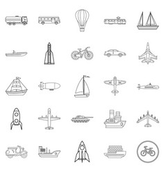 air transport icons set outline style vector image