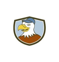 American Bald Eagle Head Smiling Shield Cartoon vector