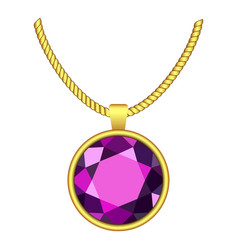 Amethyst necklace icon realistic style vector