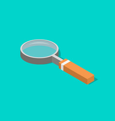 an isometric magnifying glass with flat style and vector image