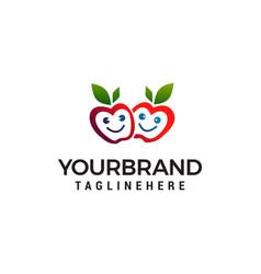 apple smile logo design concept template vector image