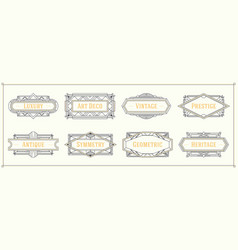 Art deco style line border and frames decorative vector