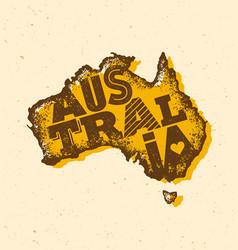 Australia vintage map damaged classic yellow vector