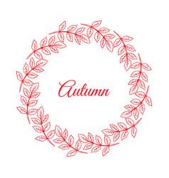 Autumn wreath hand drawn leaves vector