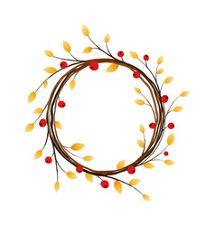 Autumn wreath on white background vector
