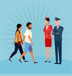aviation workers cartoons vector image