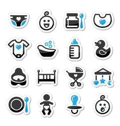 Bachildhood icons set isolated on whit vector