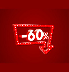banner 60 off with share discount percentage neon vector image