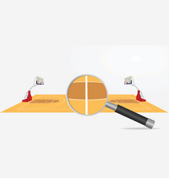 basketball field and magnifying glass vector image