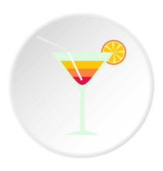 Beach cocktail icon circle vector