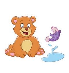 Bear and fish vector