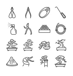bonsai line icon set vector image