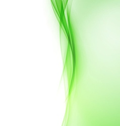 Bright green abstract swoosh wave border line vector image