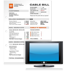 Cable TV Service Bill with Flat Plasma LED LCD TV vector image
