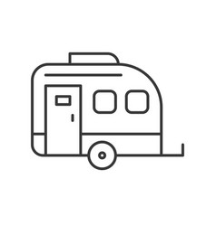 Camper car thin line icon on white background vector